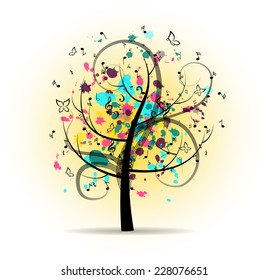 Abstract Colorful Musical Tree