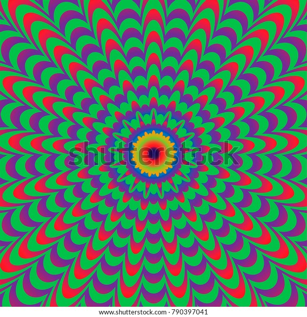 Abstract colorful optical illusion, fiery flower, creative vector striped background, movement simulation