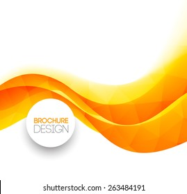 Abstract colorful orange wave vector template background. Brochure design