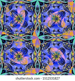 Abstract colorful Paisley vector seamless pattern. Intricate ornamental bright background. Repeat floral ornament. Ethnic style decorative backdrop. Patterned design for fabric, prints, wallpapers.