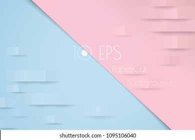 Abstract colorful pastel pattern with papercut effect vector background