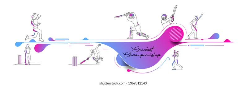 Abstract colorful pattern with batsman and bowler playing cricket championship background. Use for cover, poster, template, brochure, decorated, flyer, banner.