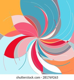 Abstract colorful pattern in retro style composed of gently curved lines