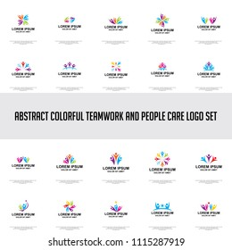 abstract colorful people care and teamwork logo