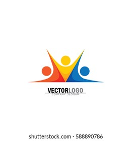 abstract colorful people group vector logo. also represents people holding hands, bonding, friendship, children or kids, sign and symbol