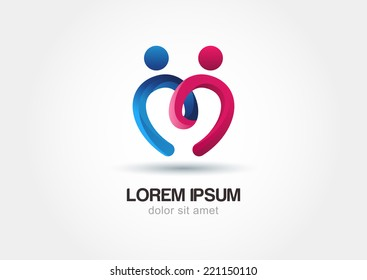 Abstract colorful people and heart shape icon. Vector logo template.