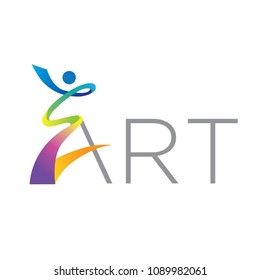 abstract colorful person create letter A, art logo