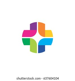 abstract colorful plus logo