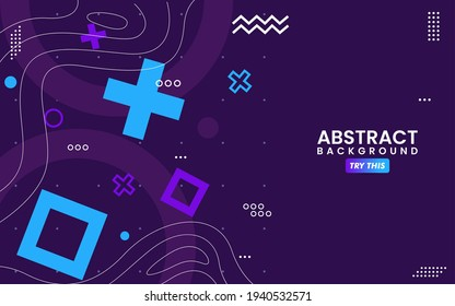 Abstract Colorful Purple with Geometric Shape Combination Background Design. Usable for Greeting Card, Banner, Landing Page, Presentation Background, Etc.