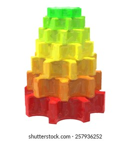 Abstract colorful pyramid isolated on white background. Trace raster illustration. Oil painted effect.