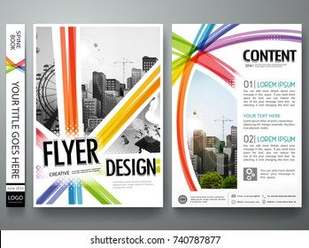 Abstract colorful rainbow square pattern on cover book presentation. Portfolio design vector. Minimal brochure report business flyers magazine poster template.