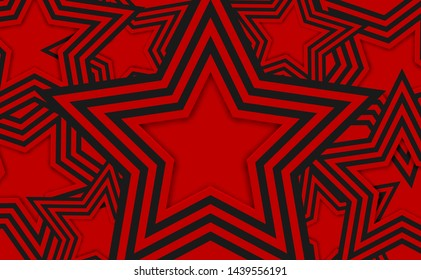 Abstract. Colorful red, black star mirage shape overlap background. paper art style ,light and shadow. vector.