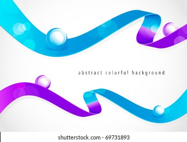 Abstract colorful ribbons with shiny orbs (eps10)