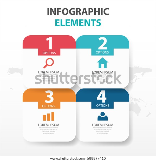 Abstract colorful round rectangle business Infographics elements, presentation template flat design vector illustration for web design marketing advertising