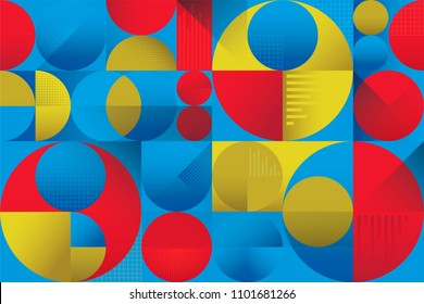 Abstract colorful seamless background pattern with circles graphs and overlapping shaded shapes with depth and shadows. Modern vintage retro pattern with blue and cyan red and yellow gradations.