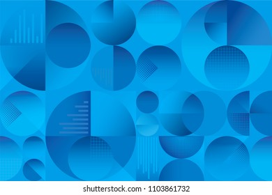 Abstract colorful seamless background pattern with circles graphs and overlapping shaded shapes with depth and shadows. Modern vintage retro pattern with blue and cyan gradations.