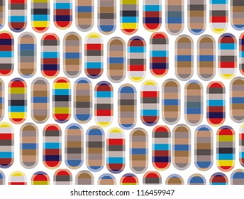 Abstract colorful seamless pattern with rounded elements, vector background.