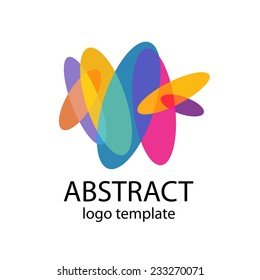 Abstract colorful shapes logo template. Flat color ovals. Transparency are flattened.