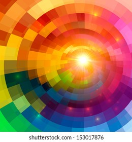 Abstract colorful shining circle tunnel vector background