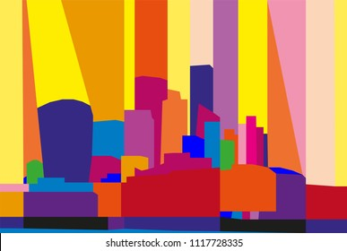 Abstract colorful skyline of the City of London.