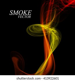 Abstract colorful smoke isolated on black, vector illustration