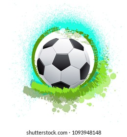 Abstract colorful soccer ball on bright background