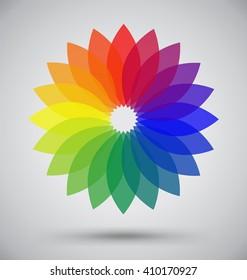 Abstract Colorful Spectrum Flower Petal, Logo Vector Design