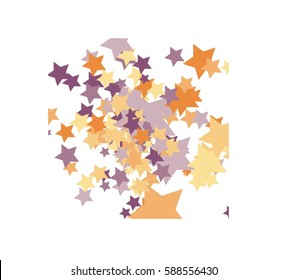 Abstract Colorful Stars on White Background. Pastel Elements of different size.