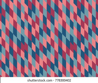 Abstract colorful stretched rhombus checker-box seamless vector pattern hand drawn in vintage style of the 60's and 70's