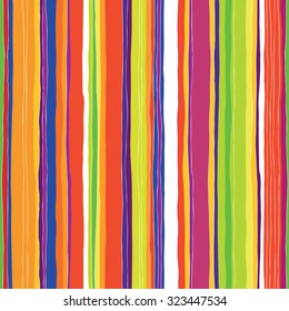 Abstract colorful stripes pattern. Seamless hand-drawn lines vector design.