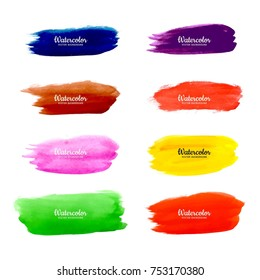 Abstract colorful stroke brush watercolor background vector