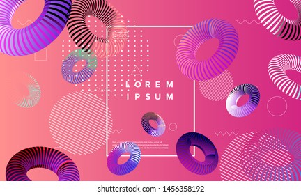 Abstract colorful summer background with striped tori (torus or toroid). Composition of colorful holographic neon 3d shapes, vaporwave/ retrowave/ cyberpunk style.