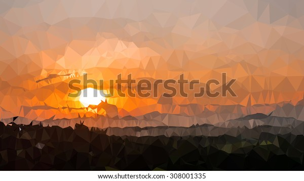 Abstract  Colorful sunset over the mountain hills triangular low poly style vector background,Vector illustration