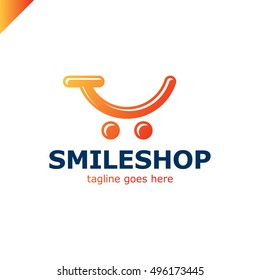 Abstract colorful template logo for the shopping cart icon and smile. App shop and trading platform logotype. Orange gradient