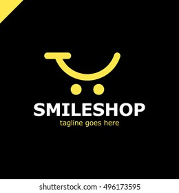Abstract colorful template logo for the shopping cart icon and smile. App shop and trading platform logotype.