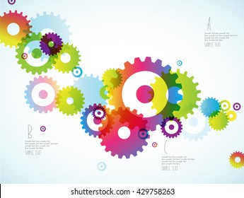 Abstract colorful toothed wheels background for power point and place for your points.