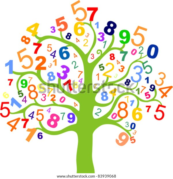 Abstract Colorful Tree Numbers Isolated On 库存矢量图 免