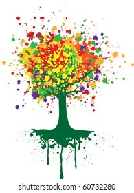 Abstract colorful tree. Vector