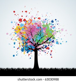 Abstract colorful tree. Vector background.