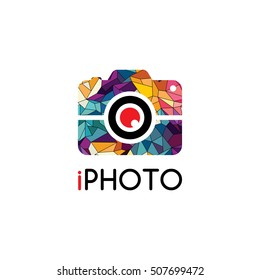 Abstract colorful triangle geometrical photography logo vector illustration