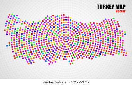 Abstract colorful Turkey map of radial dots. Vector illustration, eps 10