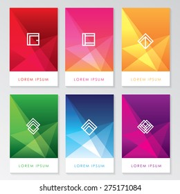 abstract colorful user interface template set collection labels in geometric triangular pattern with trendy white thin line logos