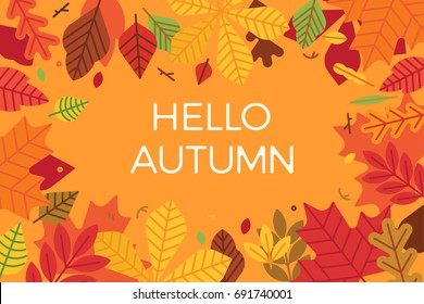 Abstract colorful vector autumn or fall background in red orange colors