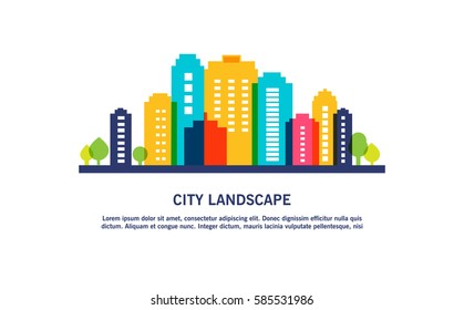 Abstract colorful vector city illustration on white background. Eps 10 vector.