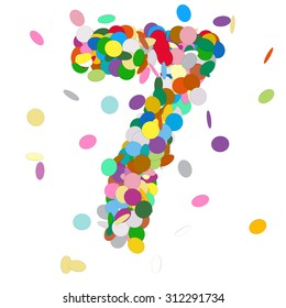 Abstract Colorful Vector Confetti Number Seven - 7 - Birthday, Party, New Year, Jubilee - Number, Figure, Digit