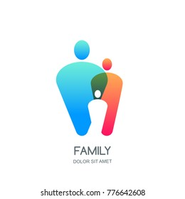 Abstract colorful vector family logo, icon, emblem design template. Overlapping people silhouettes. Illustration of happy family, mom, dad, kid.