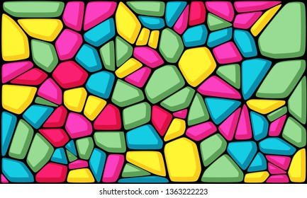 Abstract colorful voronoi geometric background. Cartoon wall. Multi color stone texture.