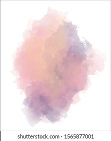 Abstract colorful watercolor background. Paint splash, blob isolated on white backdrop. Orange, purple and pink ombre. Vector illustration eps 8.