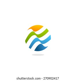 Abstract colorful wave logo. Isolated unusual lines.