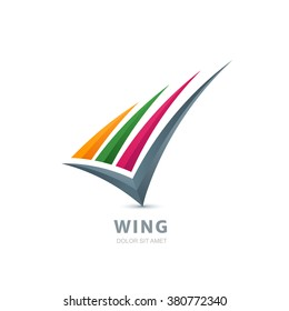 Abstract colorful wing illustration. Vector logo design template. Design concept for business solutions, technology, development and creativity.